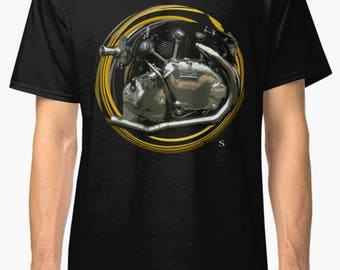 Classic Vincent inspired Motorcycle engine TShirt INISHED Productions