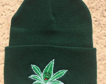 Knit Cap with Happy Weed Logo