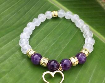 Amethyst and Heart Gemstone Bracelet