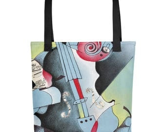 Abstract Blue Violin - Amazingly beautiful full color tote bag with black handle featuring children's donated artwork.