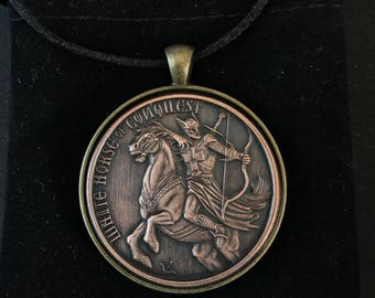 Horseman of Conquest Antiqued Copper Round Necklace