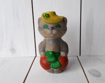 Rubber cat Cartoon character Soviet toy Rubber toy Made in ussr Soviet vintage Soviet souvenir Gift for collector Collectible Vintage Toy