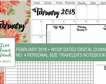 February 2018 Month + Dated WO2P Printable TN - Personal Size