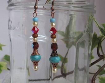 Bohemian earrings with Crystal beads