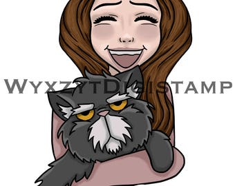 Cute/funny cat ang girl colored digistamp instant download
