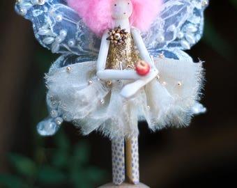 Handmade Fairy - Exquisite Christmas Angel - Vintage Beaded Christmas Decoration - Fairy Angel Peg Doll - Xmas Angel Ornament - Angel Wings