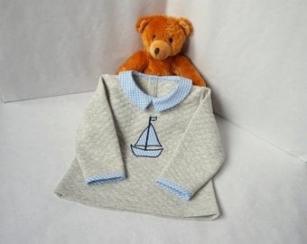 Top, sweater, sweatshirt, jacket boy 3,4,6,8 years jersey quilted gingham sky or Liberty ship boy