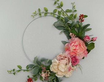 Hoop Wreath,Modern Wreath,Spring Wreath,Front Door Wreath,New Wreath,Peonny Wreath,Modern Wedding Wreath,Farmhouse Wreath,Spring Hoop Wreath
