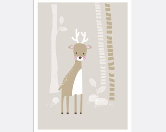 Prints for kids / posters for kids / nursery art / nursery wall art / nursery prints / nursery decor / kids room decor / deer