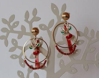 Christmas Vibes Earrings - Deer (gold, red)
