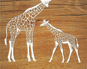 Giraffes SVG files for Silhouette Cameo and Cricut. Giraffes clipart PNG transparent included. Cute giraffe cuting files.