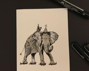 Bertha-blank hand sketched elephant card