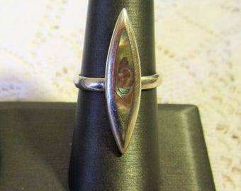 Vintage Sterling Silver 925  Abalone Shell Ring.