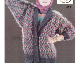 "Ladies, 1990s, shawl collar, V neck, fair isle, dolman sleeve cardigan - 32"" - 44"" chest - Vintage PDF Knitting Pattern 668"