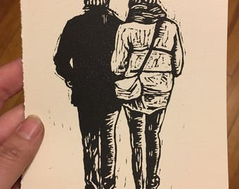 Cozy Couple - Linoleum Print