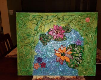 Lilies in the water. Mixed media art.