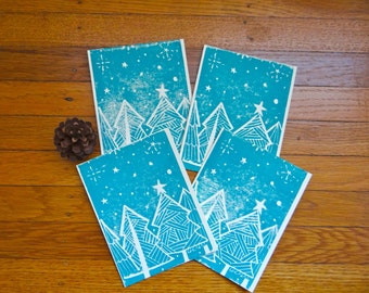 Winter Forest Christmas Card Set of Four