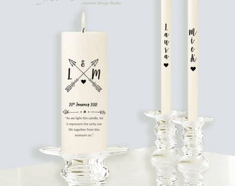 Modern Personalized Wedding Unity candle ceremony set Perfect gift