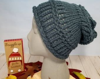 Hand Knit Hat or Slouchy Indigo