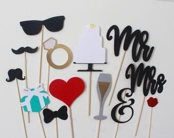 Wedding Photo Booth Props; photo booth; wedding; Wedding decorations; Wedding props; wedding cake; wedding ring; tiffany box; wedding photos