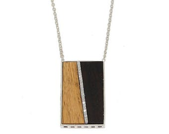 African Blackwood & Pave Diamond Necklace