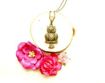 Antique Bronze Owl Necklace - Owl Necklace, Bronze Necklace, Owl Jewelry, Boho Necklace, Bird Necklace, Boho Jewellery
