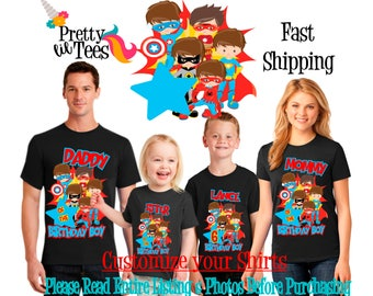 SUPERHERO Birthday BOY Theme Family BLACK Shirts For the Entire Family Mom Dad Brother and More T-shirts Long/ Short sleeve Crown Batman