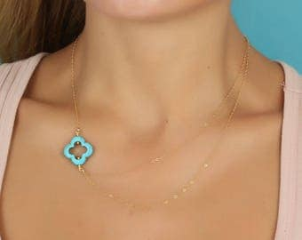 Four Leaf Clover Necklace - Layered Turquoise Necklace - Double Chain Necklace - Turquoise Clover Necklace - Good Luck Necklace - 0070BN
