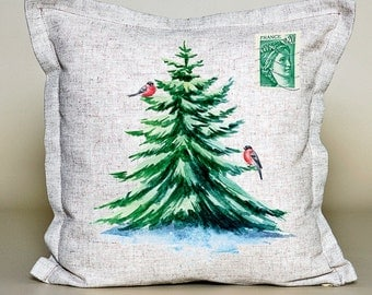 Pillow Cover Red Cardinal, Christmas Tree, Christmas pillow, Christmas gift, Christmas cushion, 16''x16'',  100% linen