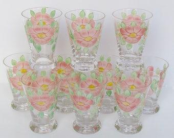 Imperial Glassware Flare Top Juice Glass Franciscan Desert Rose USA Backstamp Set of 10
