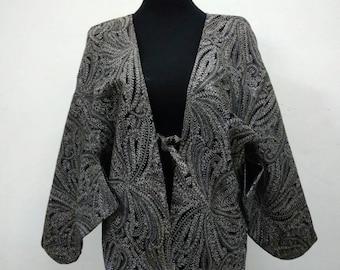 Japanese haori embroidered kimono gray floral kimono jacket /kimono cardigan/vintage kimono robe/#036