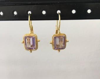 Emerald cut amethyst and gold vermeil earring
