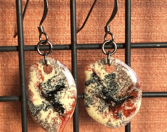 Sparkly Epoxy Earrings - Cream, Black, and Copper