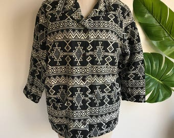 Vintage Black and White Tribal Wool Jacket Plus Size XL