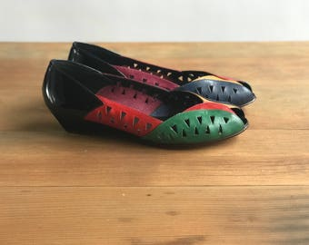 Vintage Peak a Boo Tricolor 80's Leather Shoes / Colorful 80's Leather Shoes Size 8