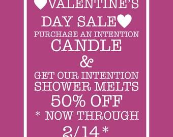 Valentine's Day Bundle Intention Candle & Intention Shower Melts Bundle