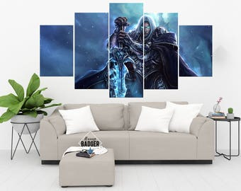 Arthas Menethil World of Warcraft 5 Panel / Piece Canvas Set WoW Wall Art Print Poster Artwork Wall Decor Painting Decal Mural Decoration