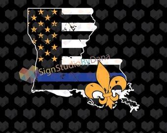 Thin Blue Line, Blue Line svg, Louisiana svg, police svg, Blue Lives Matter, Louisiana Police, svg