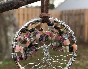 Watermelon Tourmaline Gemstone Tree of Life Ornament / Sun Catcher