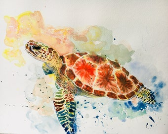 Watercolor painting decoration art sea turtle trend