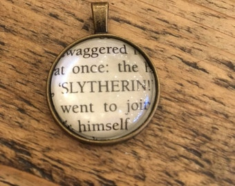 Harry Potter Slytherin book page pendant, antique bronze