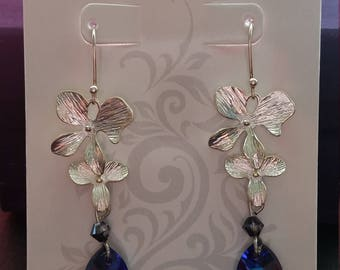 Swarovski Heliotrope Sterling Silver Plated Orchid Dangle Earrings