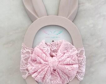 baby LACE bow headband,newborn lace headband,lace headband,girl lace headband,infant lace headband,baby girl photography,newborn photo props