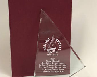 Personalised Engraved Glass Curved Sail Trophy Award - Boat Yachting Sailing