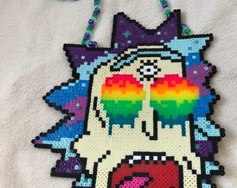 Trippy Rick Perler Necklace Rick and Morty Perler EDM Rave Wear