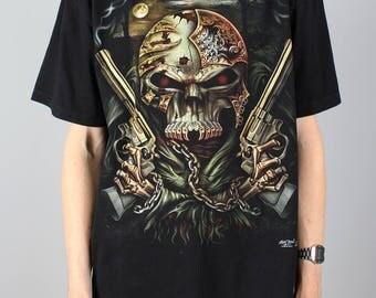 Skull T-shirt - vintage skull & guns rock tshirt - heavy metal shirt - dark goth metal Tee - double sided print - Rock Chang Size XL