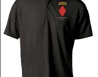 5th Infantry Division w/ Ranger Tab Embroidered Moisture Wick Polo Shirt -3385