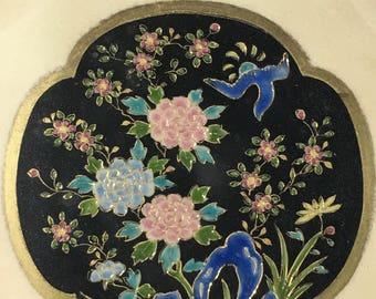 Vintage Nippon Morimura Bowl Scroll Handles Geometric Flowers Hand-painted