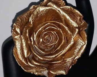 Gold preserved Forever Roses that last up to a  year, eternity metallic gold roses, eternal beauty and the beast rose, DIY box of gold roses