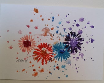 Vibrant Flowers with Splatter Affect Background